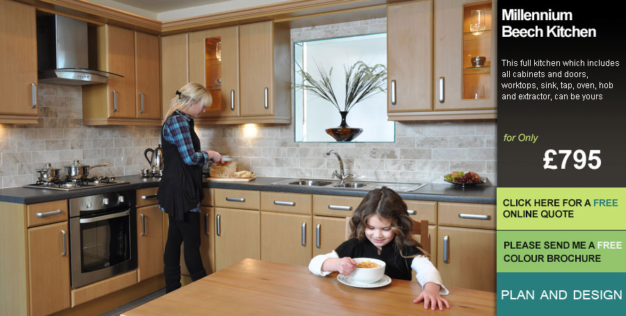 Beech Slab Kitchen Units