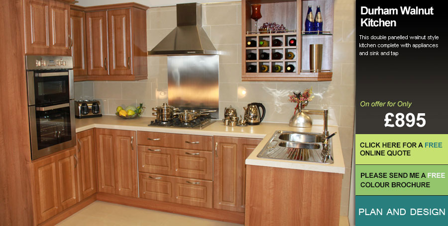 Walnut effect kitchen